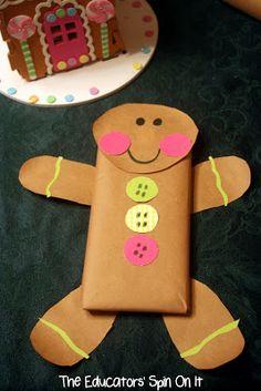 chocolate bar + craft paper = Gingerbread Man wrap