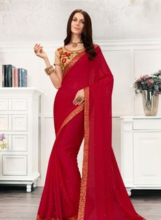 Red Saree, Chiffon Saree, Buy latest Saree with custom stitching and worldwide shipping. Red Chiffon, Chiffon Saree, Georgette Sarees, Designer Sarees Wedding, Saree Wedding, Rajputi Dress, Red Saree, Latest Sarees, Party Wear Sarees