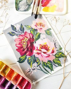 This is my favorite painting so far 😍 I just like how free my strokes are. How are you guys? What's keeping you busy? Paper: Aquafine Brush: Neptune travel round cat's tounge ½ Paint: Salt Painting, Gouache Painting, Watercolor Paintings, Canvas Paintings, Jackson's Art, Watercolor Journal, Abstract Line Art, Floral Wall Art, Watercolour Tutorials