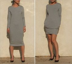 Gray Winter Dress T-shirt Dress Tunic Dress Sweater by artaffect