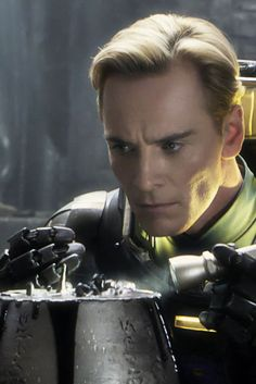 "David, the ambiguous-intentioned, inexplicably meddling android from the movie ""Prometheus."" He stares in the mirror and recites lines from ""Lawrence of Arabia."""