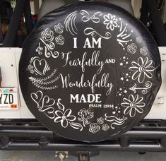 """Floral spring """" I am fearfully and wonderfully made Psalms jeep tire cover Custom Jeep Tire Covers, Jeep Wrangler Wheels, Painted Tires, Bling Car Accessories, Spare Tire Covers, Wheel Cover, Jeep Life, Psalms, Dream Cars"""