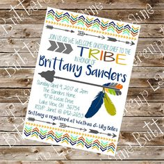 Tribe Arrow Baby Boy Shower Invitation Digital by ButtercupLaine