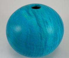 """Shining Tranquility - Maple Vessel: dyed blue. This vessel measures - 4-1/2"""" tall by 5"""" in diameter. It is finished with shellac and beeswax."""