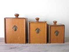 Wood Canister Set with Brass Pineapple Medallion by 22BayRoad, $26.00