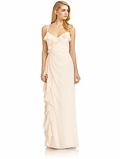 Badgley Mischka Silk Beaded Strap Ruffle Gown/Pink