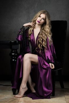Katana Lingerie is providing best ever designs for its customers. Let's have a look on these womens full length robe. You can wear it, feel comfortable and look sexy to your partner. Witch Dress, Satin Sleepwear, Nightwear, Floor Length Dresses, Beautiful Lingerie, Satin Dresses, Linen Dresses, Deep Purple, Purple Satin