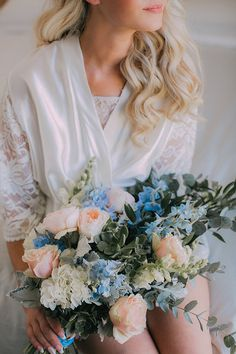 Stunning pastel bridal bouquet with soft blue flowers and peach roses Spring Wedding, Wedding Day, Blue Flowers, Wedding Venues, Bouquet, Roses, Peach, Pastel, Bridal