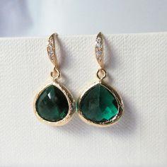 emeral green bridesmaid earrings emerald green by twixtdesigns