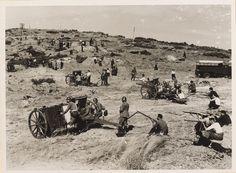 Spain - 1937. - GC - Sierra de Guadarrama, vista panorámica del despliegue defensivo del Ejército republicano, incluyendo varias pieza de artillería, en el frente de Madrid.