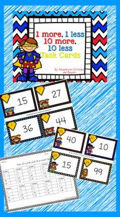 This is a fun set of superhero task cards to help your students practice 1 More, 1 Less, 10 More, 10 Less. This is also great tool to aid in developing a strategy for addition and subtraction also.  The set includes 20 task cards and 2 types of recording sheets and a 100's chart for the students to reference while working on the task cards.