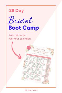 Bride Fitness Plan in 4 weeks, get toned muscles and get rid of bloating for your big day! This bride workout plan can be done at home or at the gym, and will help you get into your best shape for your wedding dress! Tap over to grab the printable calendar for bride's to use to track their fitness progress and keep track of each day's workout! Month Workout, Workout Challenge, Getting Rid Of Bloating, Fitness Inspiration, Workout Inspiration, Blogilates, Workout Calendar, Get Toned, Boot Camp Workout
