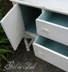 Paint the interior of a furniture piece with a bright color for a fun surprise when cupboard doors and drawers are opened!