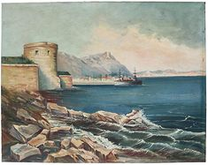 French Seaside Coastline Oil Painting - Rose Victoria Art