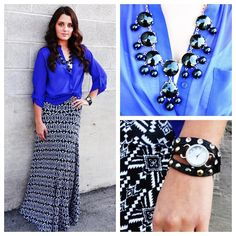 Feel the motion of the ocean with this beautiful blue outfit! You can get this great look by combining a cobalt blue top $34.50 with a black and white maxi skirt $38.50 and a $12.50 Tank. But what really makes this outfit stand out are the wonderful accessories like the Wrap watch $34.50 and the Bubble necklace $32.50.