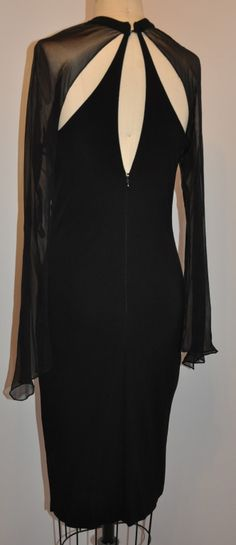 17d370fdd6421 C.d. Greene Black Silk Jersey   Silk Chiffon Cocktail Dress