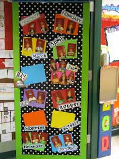 Pencils, Paper and Pixie Dust-Birthday door. I hung fabric on my classroom door, added some cute border, laminated cardstock and the months of the year in random fonts and then the kiddos pictures. I have to say that I am in love with it. I love how personal it is and the kids love looking at their pictures.
