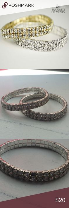 Authentic Swarovski Bracelet Double Tier Swarovski Element Stretch Crystal Bracelet in Silver Tone... Set of two: one of them is missing a stone Swarovski Jewelry Bracelets
