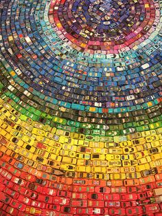 2500 toy cars to make this rainbow ... pretty clever design.