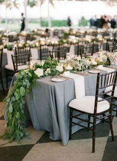 Dusty blue wedding reception decor idea