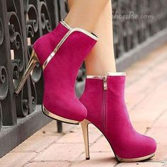 Raspberry booties with gold detail-a statement piece!