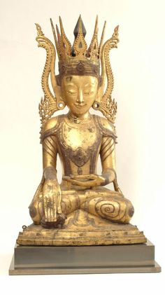 Seated Buddha, Burma, late 18th C ~ his right hand is protecting a baby elephant~| From a unique collection of antique and modern sculptures at http://www.1stdibs.com/furniture/more-furniture-collectibles/sculptures/