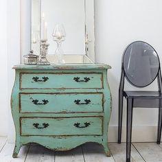 shabby teal dresser, love it