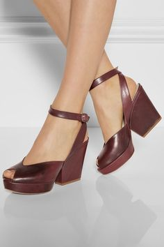 Heel measures approximately 100mm/ 4 inches with a 20mm/ 1 inch platform Burgundy leather Buckle-fastening ankle strap Small to size. See Size & Fit tab.