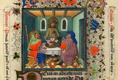 """Cena in Emmaus"""", miniatura tratta dal 'Libro d'Ore di Cathèrine de Clèves' (Fiandre, 1440 circa),Morgan Library and Museum, New York.Cena in Emmaus"""", miniatura tratta dal 'Libro d'Ore di Cathèrine de Clèves' (Fiandre, 1440 circa),Morgan Library and Museum, New York."""