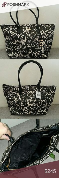 Kate Spade Jules Tote Brand NEW never used with tags ☺  Black and beige in color with a rose print. The bag has a Zipper closure. Internal zip pocket and two credit card sized slide pockets.   Base of bag is 12.5 inches in length and 6 inches in width. Bag stands 11 inches tall. Handles from the top of the bag to the mid top of the handle is 8.5 inches. kate spade Bags Totes