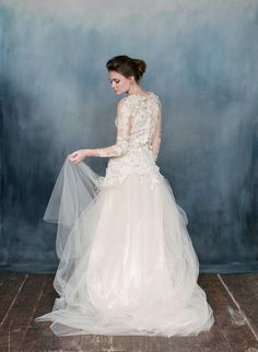 Arabesque - Floral Long Sleeve Wedding Dress from Emily Riggs