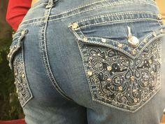 Earl Jeans Western Scroll Rhinestone Jeans Medium Wash// 16,18,20 22W NEW
