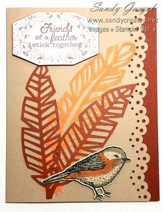Oct 2018 Paper Pumpkin - Friends of A Feather Feather Cards, Paper Feathers, Paper Art, Paper Crafts, Stampin Up Paper Pumpkin, Pumpkin Cards, Church Windows, Native Design, Birdcages