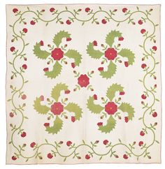 """PA applique princess feather quilt with trailing vine border, signed verso Huldah Caroline Deat 1859 Age 82, 86 x 86"""", Pook & Pook, Live Auctioneers"""