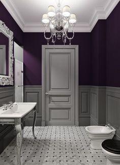 Bathroom decor ideas: purple paint and chandelier