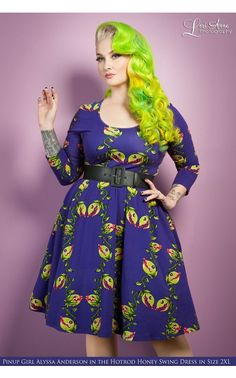 Deadly Dames- Hotrod Honey Swing Dress in Venus Flytrap Print - Plus Size | Pinup Girl Clothing