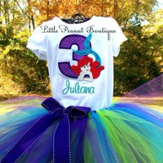 Little Mermaid Birthday tutu outfit! Just ordered for Austin with her name and year! Love etsy!
