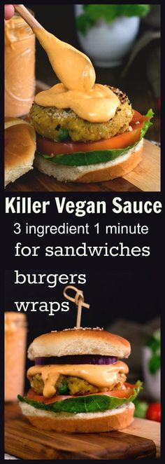 Vegan spicy sauce for burgers sandwiches. Yummy to the core All you need is 1 minute and 3 ingredient. Vegan spicy sauce for burgers sandwiches. Yummy to the core All you need is 1 minute and 3 ingredient. Vegan Sauces, Vegan Foods, Vegan Dishes, Yummy Vegan Food, Vegan Food Truck, Gluten Free Sauces, Vegan Sweets, Veggie Recipes, Whole Food Recipes