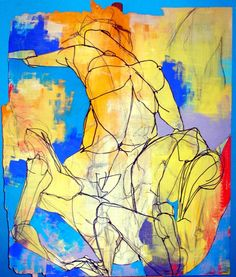 """The quality of Lena Kramarić work is beyond question. I love this image which falls a little outside what she normally creates. It is much more sketchy and rough but very sensual beautiful and expressive due to her skillful use of colour. Mixed Media, 2006, Painting """"no title 30""""."""