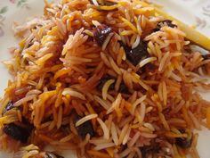 Persian sour cherry rice, leave out chicken for vegetarians. Albaloo Polo.