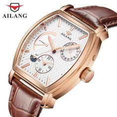 AILANG Date Month Display Rose Gold Case Mens Watches Top Brand Luxury Automatic Watch Montre Homme Clock Men Casual Watch