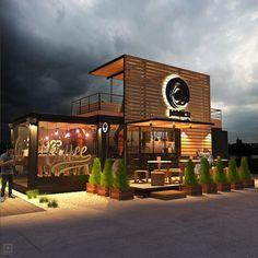 Design of container cafe MENTION Design and render - แปลนบ้าน - Design Cafe Shop Design, Coffee Shop Interior Design, Restaurant Interior Design, Fast Food Design, Shipping Container Restaurant, Shipping Container Design, Container Coffee Shop, Restaurant Plan, Mobile Restaurant