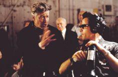"David Lynch on the set of ""Mulholland Drive (AKA Mulholland Dr.)"" (2001)."