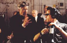 "David Lynch on the set of ""Mulholland Drive (AKA Mulholland Dr.)"" (2001)."