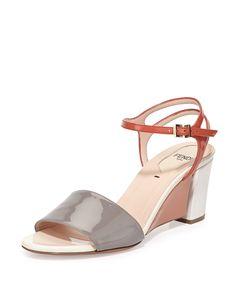 Colorblock Patent Wedge Sandal, Ash/Pimento, Size: 40.0B/10.0B