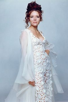"""Diana Rigg lace jumpsuit worn for her wedding to James Bond in """"Her Majesty's Secret Service""""."""
