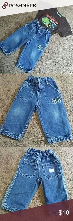 Infant Blue Jeans Infant Blue Jeans. EUC. Elastic waste with front zipper and snap. Bottoms Jeans