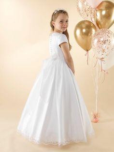 LWCD38 Communion Dress Holy Communion Dresses, First Holy Communion, Finger Knitting, Little White, Cap Sleeves, Bodice, Tulle, Flower Girl Dresses, Wedding Dresses
