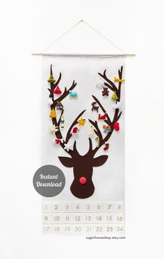 Felt Advent Calendar Pattern + 24 Ornaments - Reindeer Holiday Countdown - Christmas Activities for Kids - Handmade Christmas Gift Printable