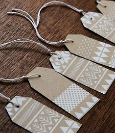 Patterned gift tags: Kraft paper and card (white marker for holidays, coloured markers for other occasions)